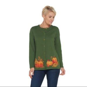 Quacker Factory | Harvest pumpkin jewel button | L